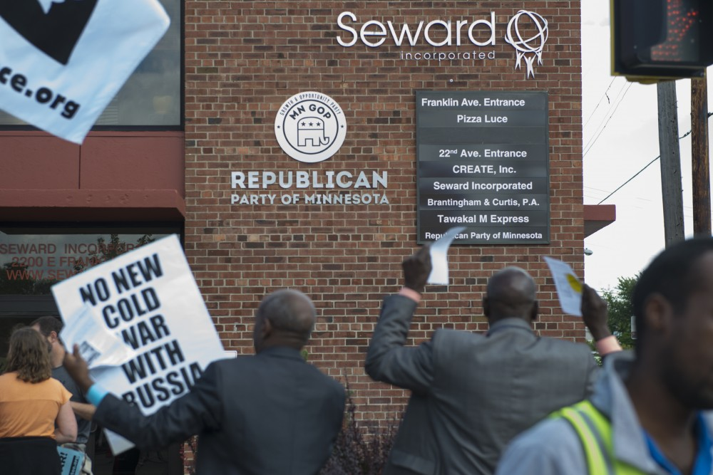 Protestors against islamophobia chant outside of the headquarters of the Republican Party of Minnesota on Saturday, Sept. 17, 2016.