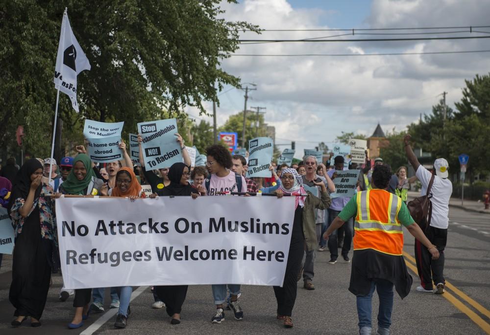 Protestors march against islamophobia on Minnehaha Avenue on Saturday, Sept. 17, 2016.