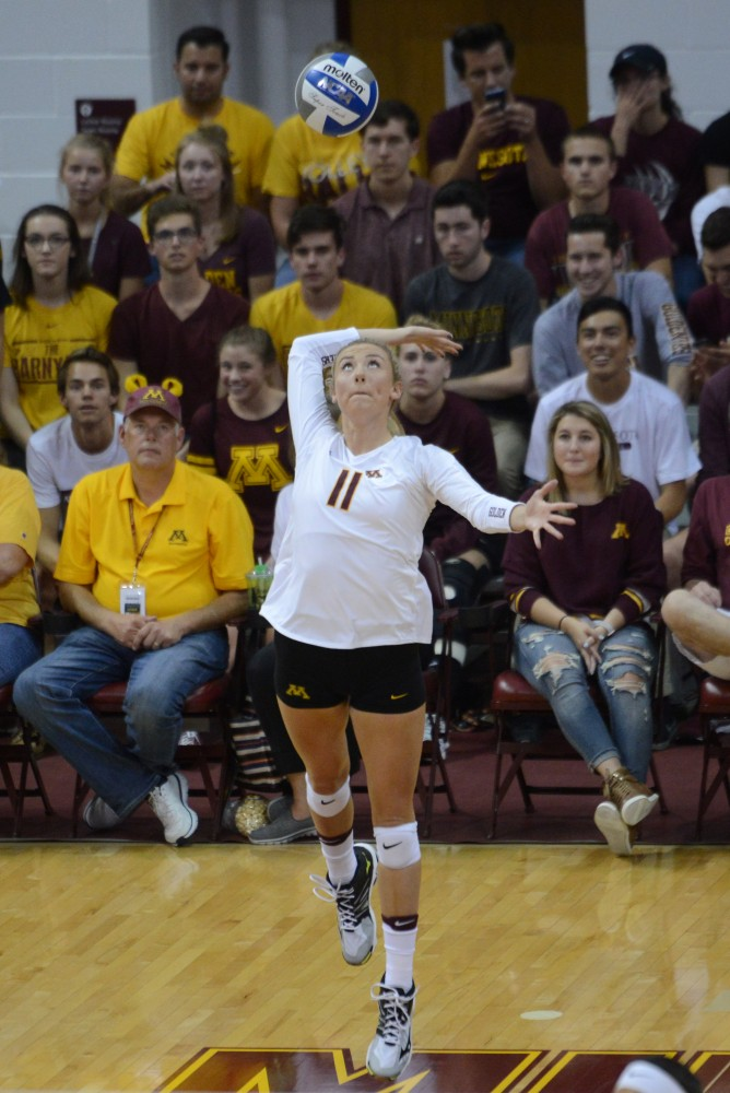 Sophomore setter Samantha Veliger-Swenson serves the ball during a game against North Dakota State at the Sports Pavilion on Sept. 16, 2016, where the Gophers won 3-1. The game was a part of the Diet Coke Classic.