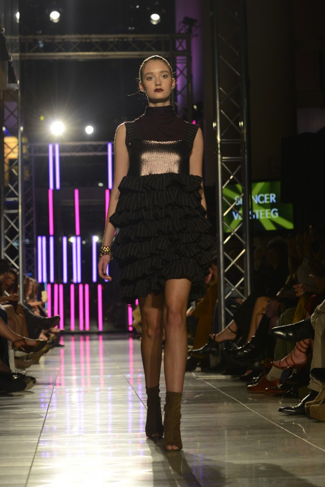 Third year Apparel Design student Spencer Versteeg presented his first collection at the Envision Fashion Show as part of Fashion Week MN on Saturday, Sept. 24, 2016 at Orchestra Hall in Minneapolis.
