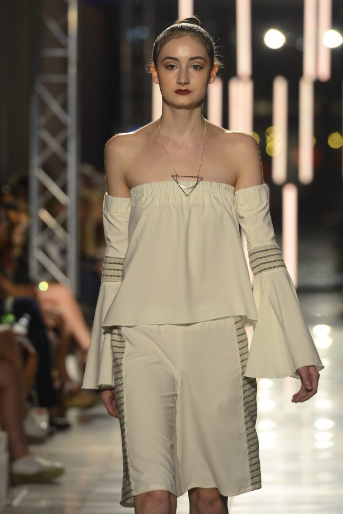 U alum Ellie Hottinger presented a collection from her brand, Emah The Label, at the Envision Fashion Show as part of Fashion Week MN on Saturday, Sept. 24, 2016 at Orchestra Hall in Minneapolis. Hottinger graduated from the Apparel Design program in 2013 and lives in Chicago.
