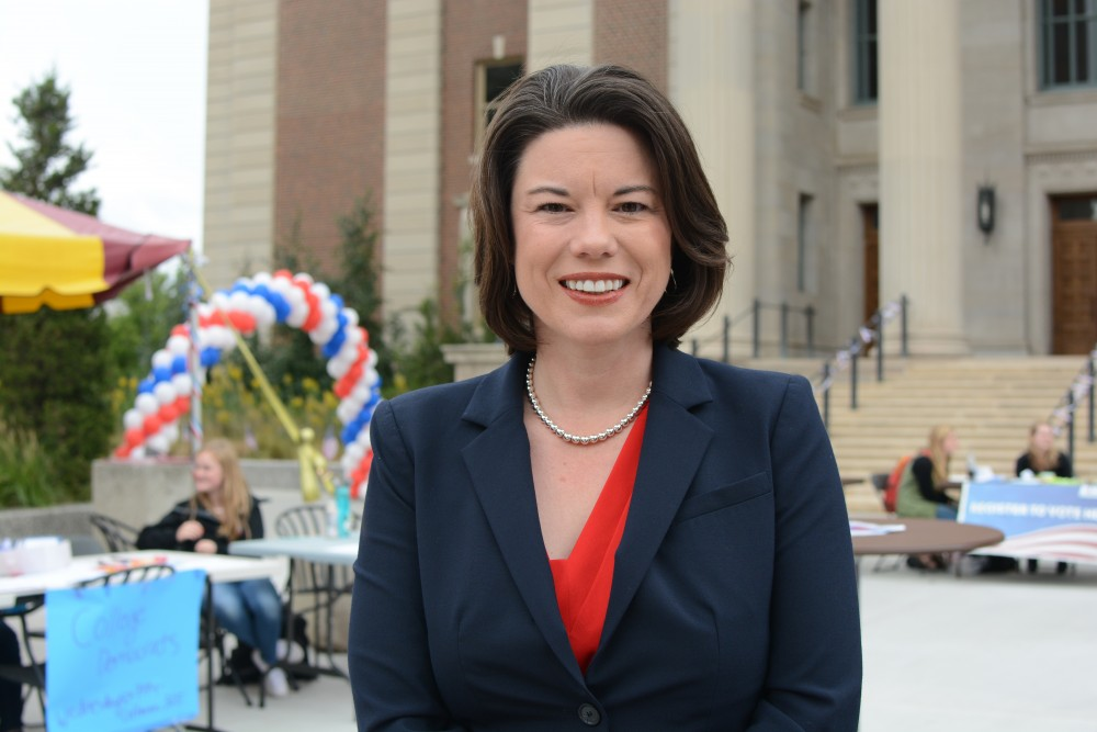 Angie Craig, U.S. House of Representatives Democratic candidate for Minnesota's 2nd Congressional District poses for a photo at Voterpalooza on Tuesday, Sept. 27, 2016 at Northrop Plaza. Craig came to interact with students. Two of Craig's focuses are to grow the economy so students have jobs after graduation and high quality public education and affordable college.