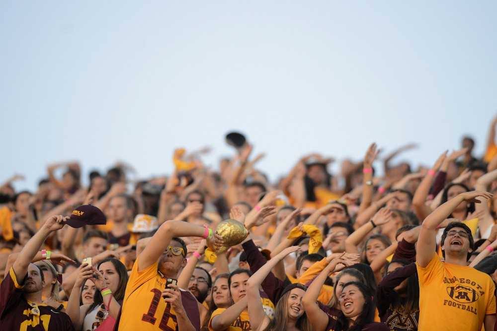 The crowd cheers at the start of the Gophers' game against the Oregon State Beavers on Thursday, Sept. 1, 2016 at TCF Bank Stadium.