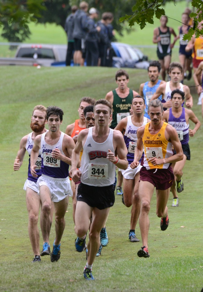Redshirt junior Matt Welch runs in the Merrill Fischbein Men's Gold race at the Roy Griak Invitational on Saturday, Sept. 24, 2016 at Les Bolstad golf course.