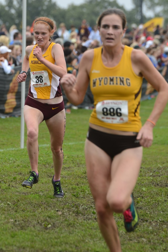 Redshirt sophomore Patty O'Brien runs in the Jack Johnson Women's Gold Race at the Roy Griak Invitational on Saturday, Sept. 24, 2016 at Les Bolstad golf course.