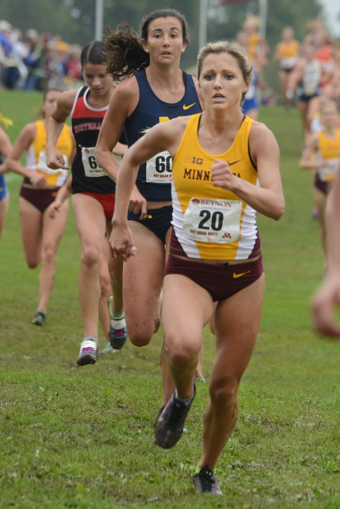 Redshirt sophomore Courtney Alama runs in the Jack Johnson Women's Gold Race at the Roy Griak Invitational on Saturday, Sept. 24, 2016 at Les Bolstad golf course.