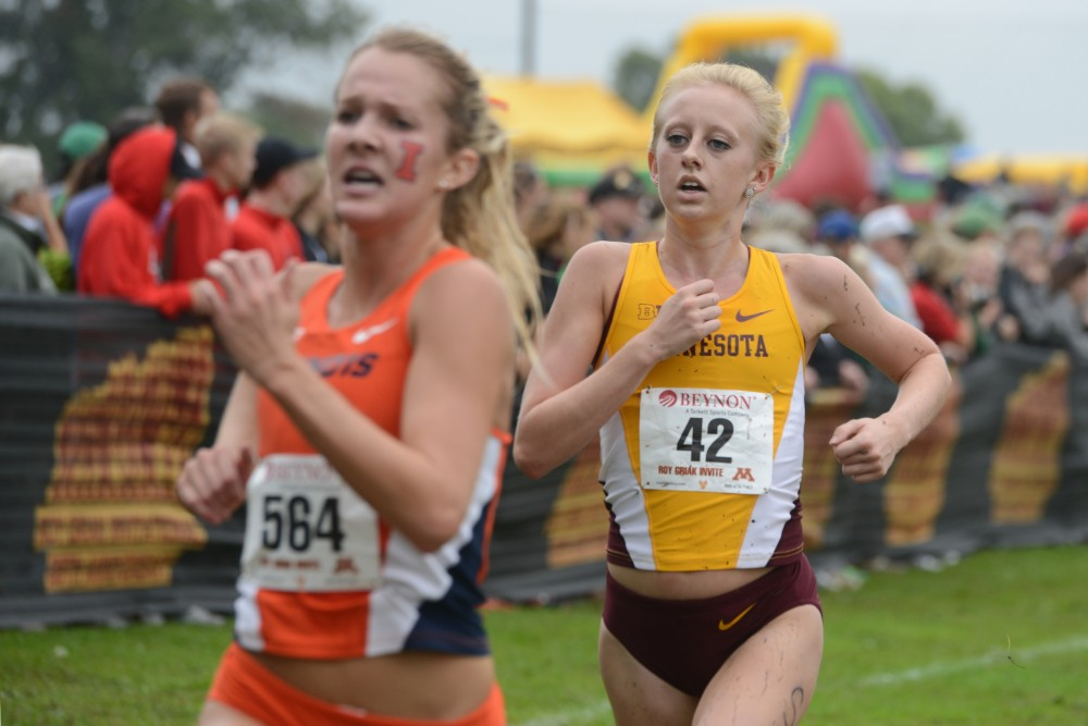 Redshirt freshman Samantha Prouty runs in the Jack Johnson Women's Gold Race at the Roy Griak Invitational on Saturday, Sept. 24, 2016 at Les Bolstad golf course.