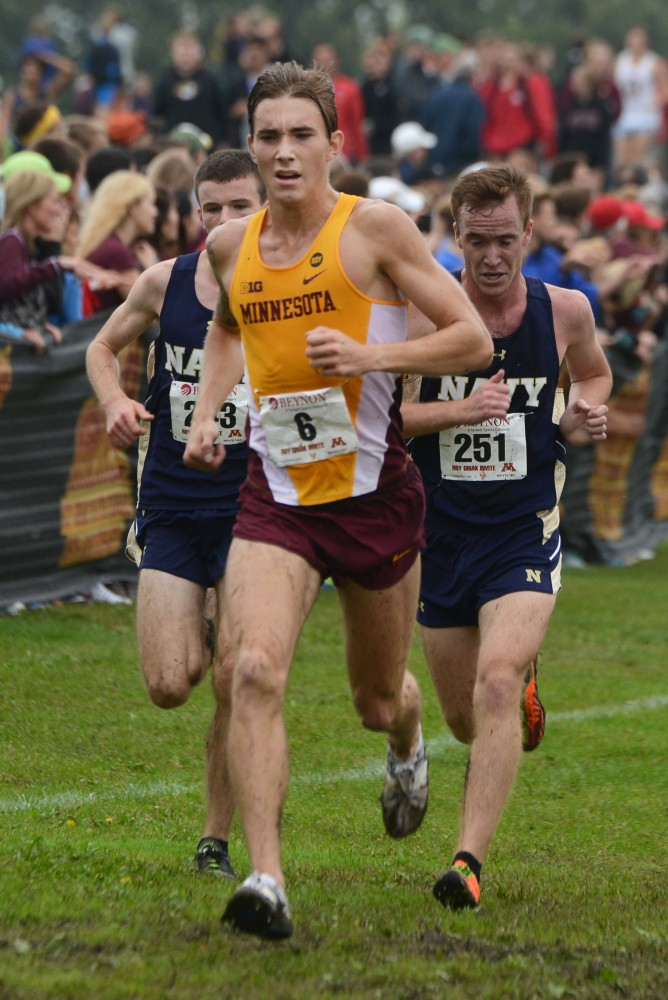 Redshirt junior Charlie Lawrence runs in the Merrill Fischbein Men's Gold race at the Roy Griak Invitational on Saturday, Sept. 24, 2016 at Les Bolstad golf course.