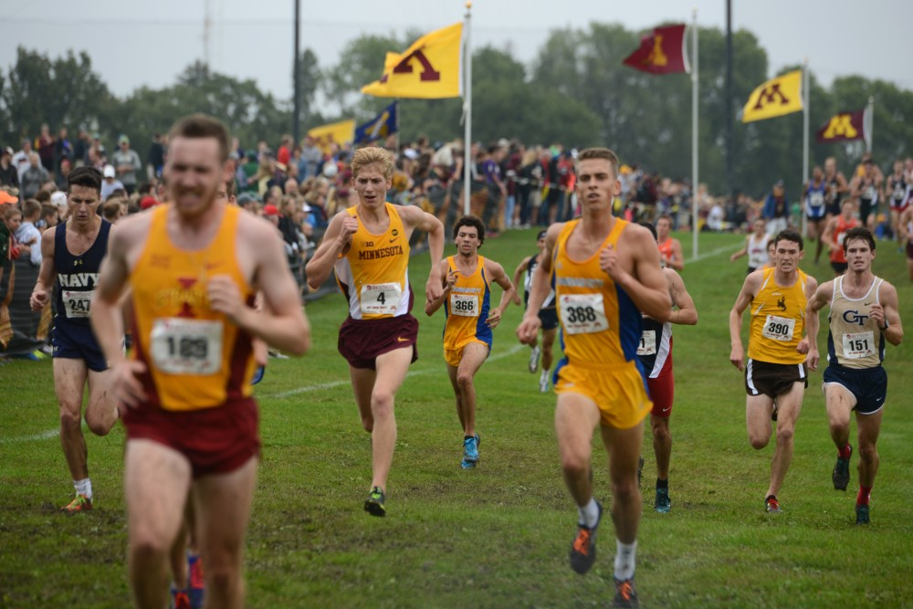 Redshirt freshman Evan Ferlic runs in the Merrill Fischbein Men's Gold race at the Roy Griak Invitational on Saturday, Sept. 24, 2016 at Les Bolstad golf course.