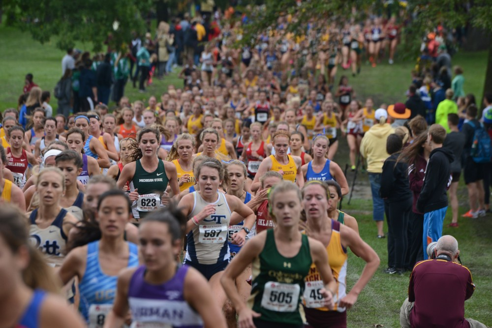 Female cross country runners from 35 teams compete in the Jack Johnson Women's Gold Race at the Roy Griak Invitational on Saturday, Sept. 24, 2016 at Les Bolstad golf course. The Gophers placed ninth.