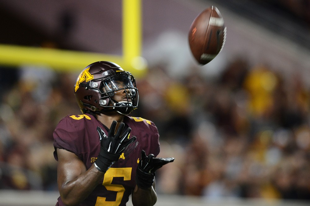 Defensive back Jalen Myrick catches the ball during the Gophers game against the Oregon State Beavers on Thursday, Sept. 1, 2016 at TCF Bank Stadium.