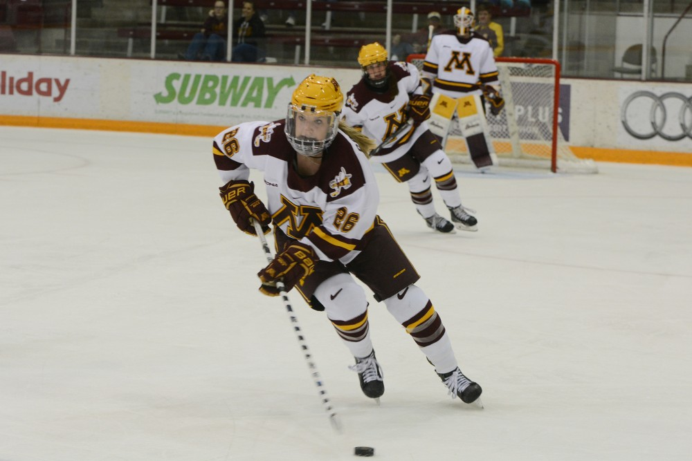 Sophomore forward Sarah Potomak skates against the Lindenwood Lions on Friday, Sept. 30, 2016 at Ridder Arena. Potomak scored the first goal of the night during the second period of the Gophers 3-0 win against the Lions in Minnesota's season-opener.
