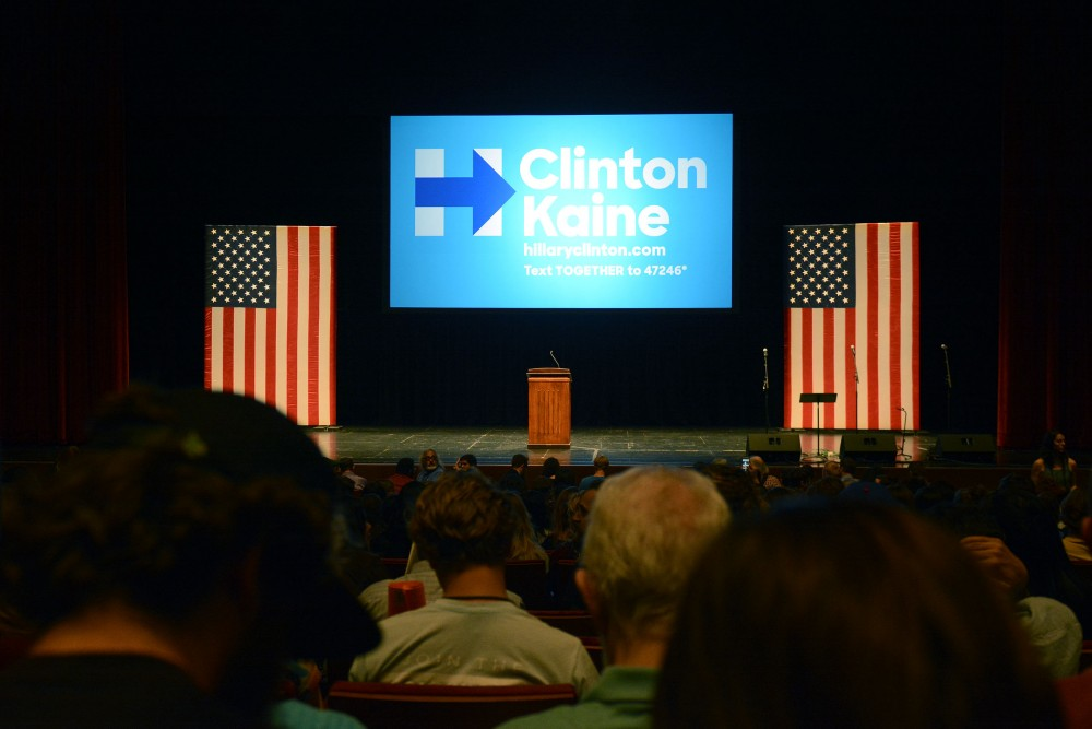 An audience awaits the arrival of Sen. Bernie Sanders at Northrop Auditorium on Oct. 4, 2016, where Sanders spoke in support of Democratic presidential nominee Hillary Clinton.