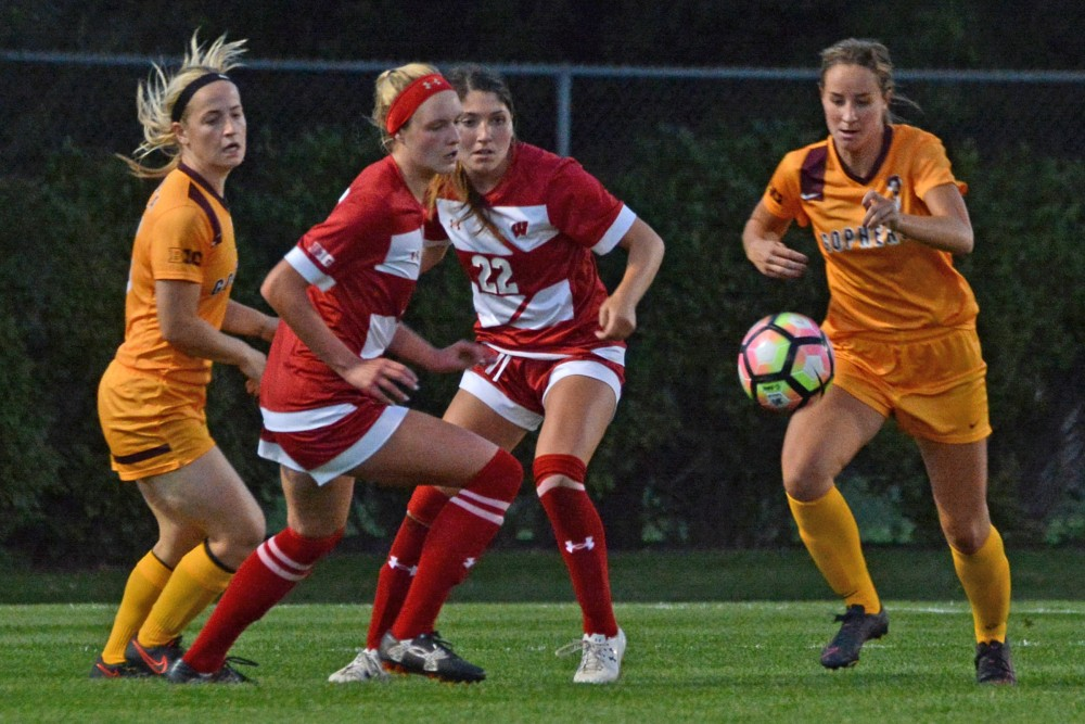 Junior forward Kellie McGahn rushes toward the ball during a home game against Wisconsin on Saturday, Oct. 1, 2016 at Elizabeth Lyle Robbie Stadium in St. Paul. Minnesota lost to Wisconsin in overtime 1-0 after both teams went scoreless through the game.