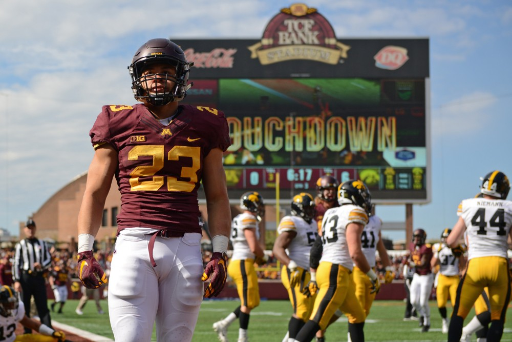 Gophers running back Shannon Brooks after scoring the Gophers only touchdown of the game at TCF Bank Stadium on Oct. 8, 2016.