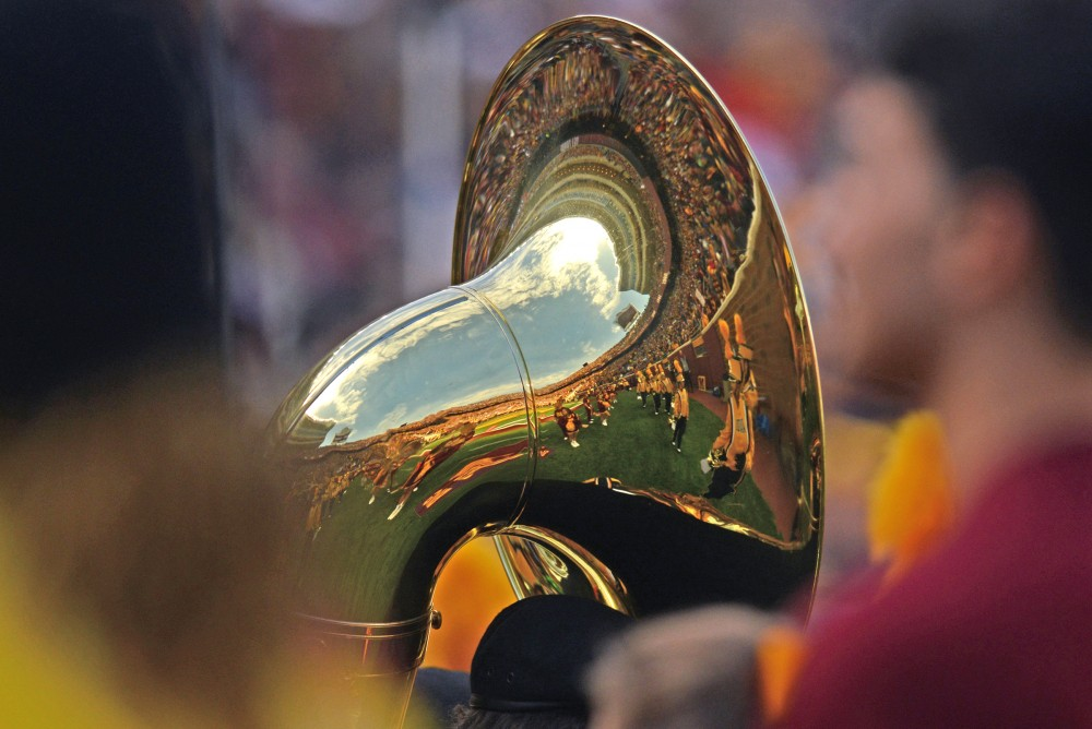 TCF Bank Stadium is reflected in the bell of a sousaphone on Oct. 8, 2016.