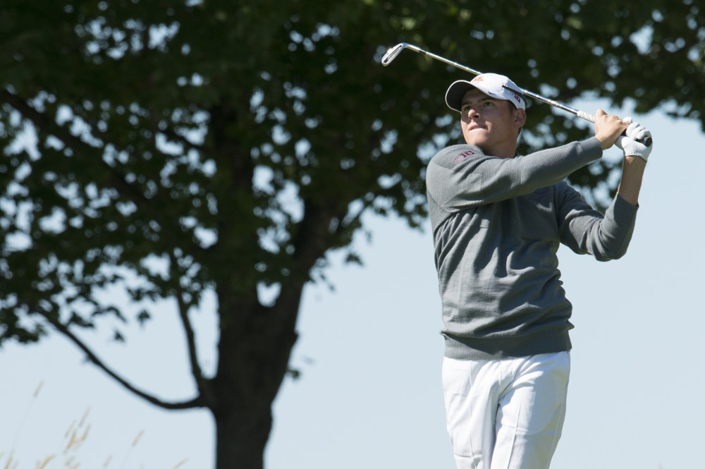 Riley Johnson plays at the Windsong Golf Club during the Gopher Invitational on Sept. 13, 2015.