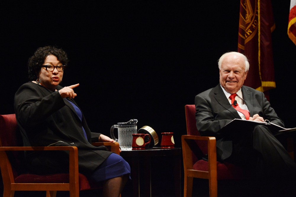 United States Supreme Court Justice Sonia Sotomayor speaks with University professor Robert A. Stein at Northrop Auditorium on Monday, Oct. 17, 2016. The lecture was part of an annual series Stein and his wife established to bring lawyers and judges to the University.