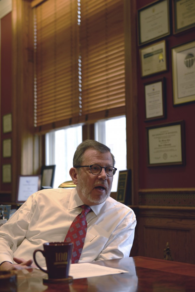 University President Eric Kaler answers questions for the Minnesota Daily on Friday, Oct. 21, 2016 in his office at Morrill Hall.