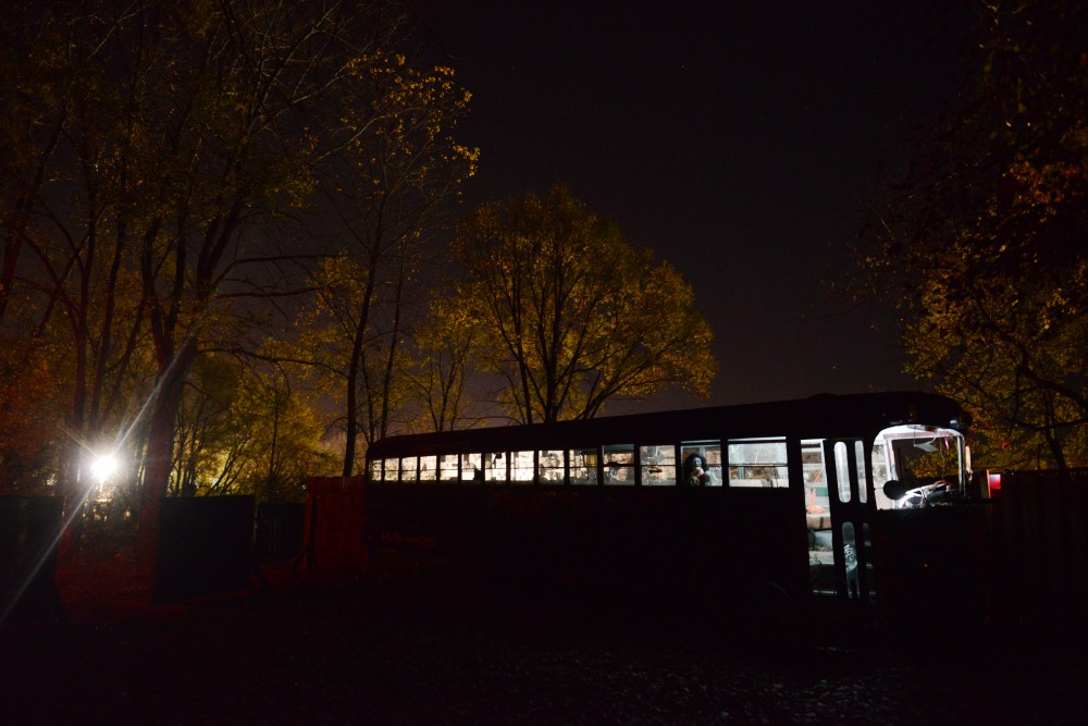 A bus seen at the Howling Pines Woods Walk at the Trail of Terror on Sunday, Oct. 23, 2016 in Shakopee, Minnesota.