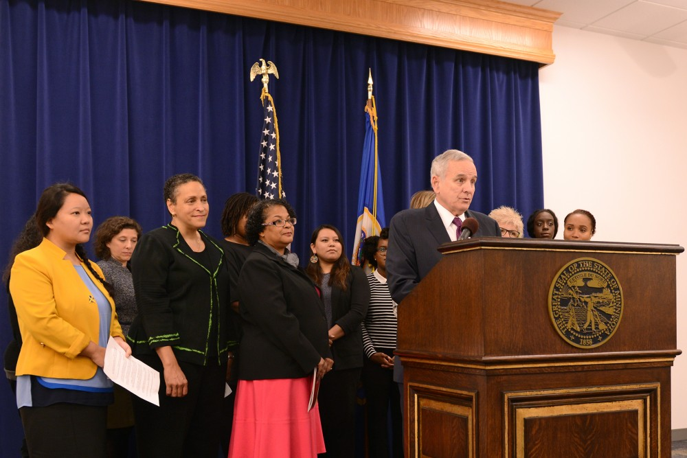 Gov. Mark Dayton discloses a new initiative for young women of Minnesota on Tuesday, Oct. 22, 2016 at the Veterans Service Building in St. Paul. Governor Dayton announced an outreach initiative that incorporates the Womens Foundation of MN and the Universitys Urban Research and Outreach-Engagement Center to bring opportunity to young women.
