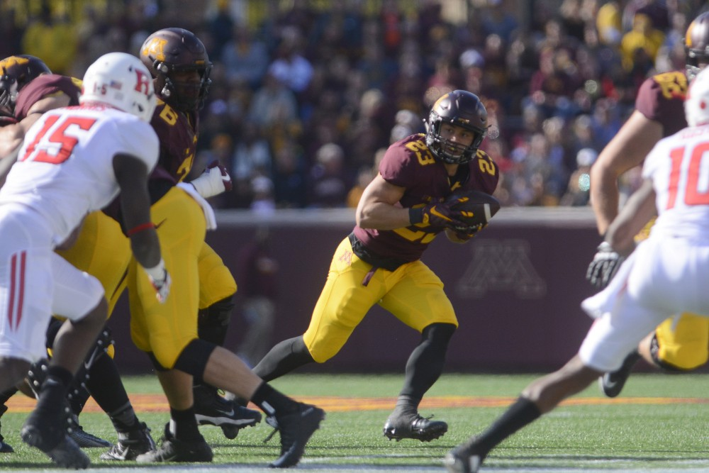 Gophers running back Shannon Brooks looks for running room on Saturday at TCF Bank Stadium.