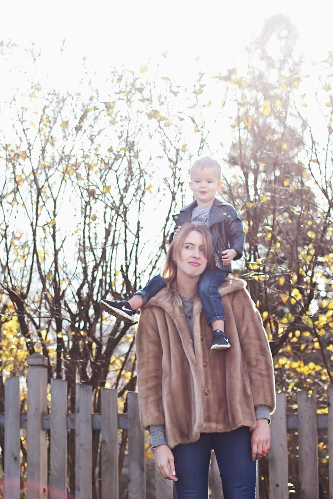 Twin Cities writer and podcaster Nora McInerny Purmort poses with son Ralf.