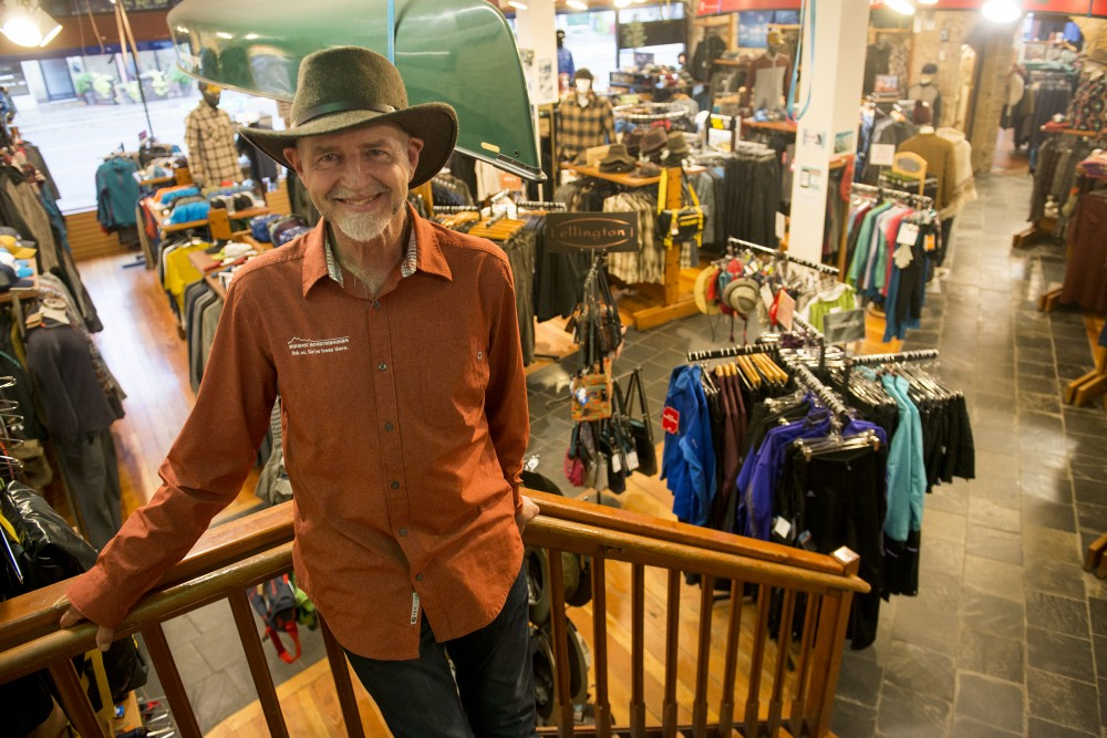 Midwest Mountaineering founder and owner Rod Johnson poses for a portrait in his store on Wednesday, on West Bank. Johnson started his business in 1970 in order to get wholesale climbing gear, selling out of his kitchen for the first 6 months.