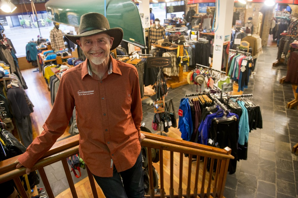 Midwest Mountaineering founder and owner Rod Johnson poses for a portrait in his store on Wednesday, Oct. 26, 2016 on West Bank. Johnson started his business in 1970 to get climbing gear at wholesale and began selling out of his kitchen for the first 6 months. After that, he opened a store on Hennepin Avenue, and in 1976, moved to the current West Bank location.