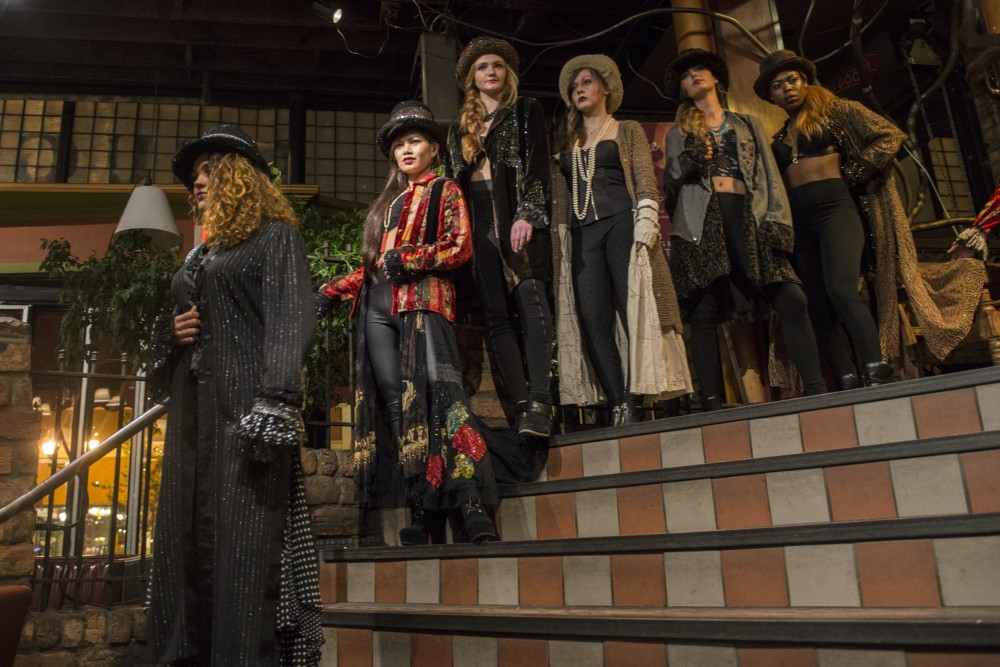 Models wearing designer Shelley Wades clothing walk in Wades show at the Loring Pasta Bar on Oct. 30, 2016. Wades creations have a Gypsy influence and were originally intended to be shown to Prince in a private show.