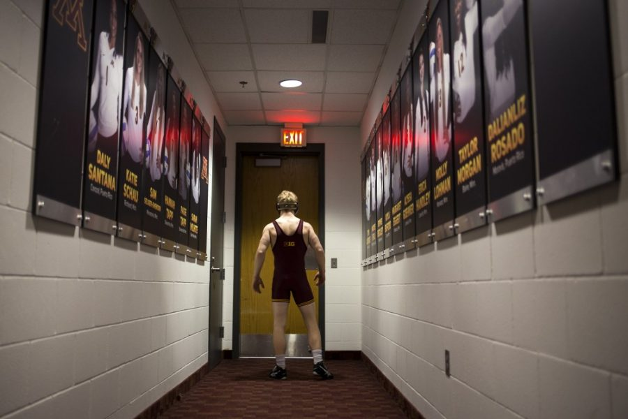 Junior Sam Brancale silently waits, hopping between feet just moments before taking to the wrestling mat at the Sports Pavillon to compete in front of over two thousand fans.