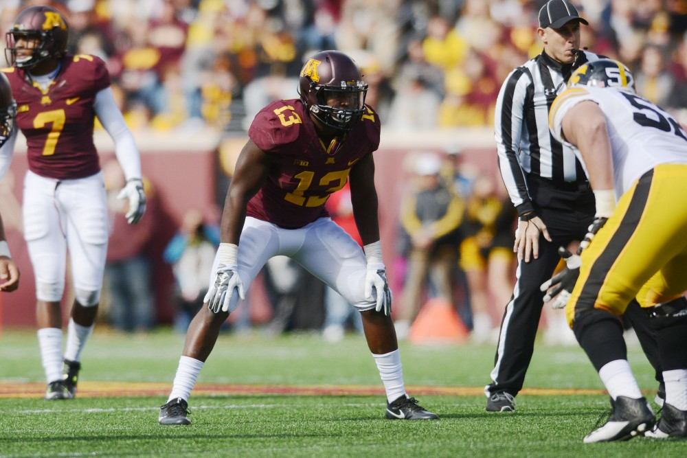 Gophers linebacker Jonathan Celestin prepares for a play against Iowa at TCF Bank Stadium on Oct. 8, 2016.