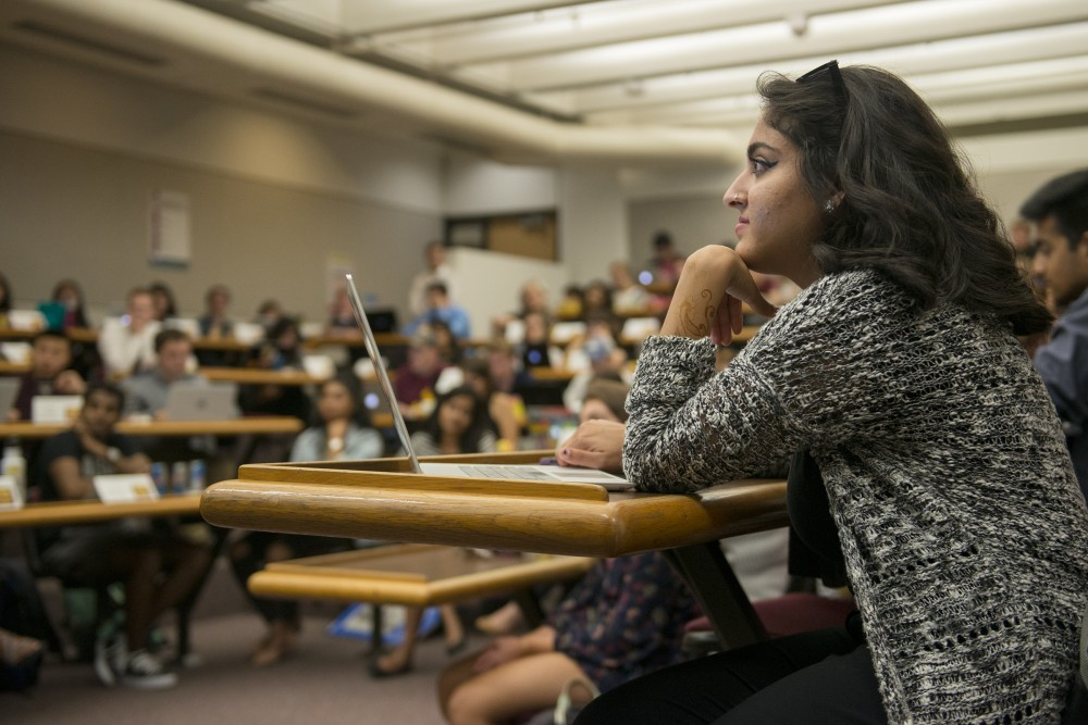 Minnesota Student Association President Abeer Syedah listens during the association's forum in Mondale Hall on Tuesday, Sept. 13, 2016. Syedah, who previously served as vice president, was elected as president earlier this year.