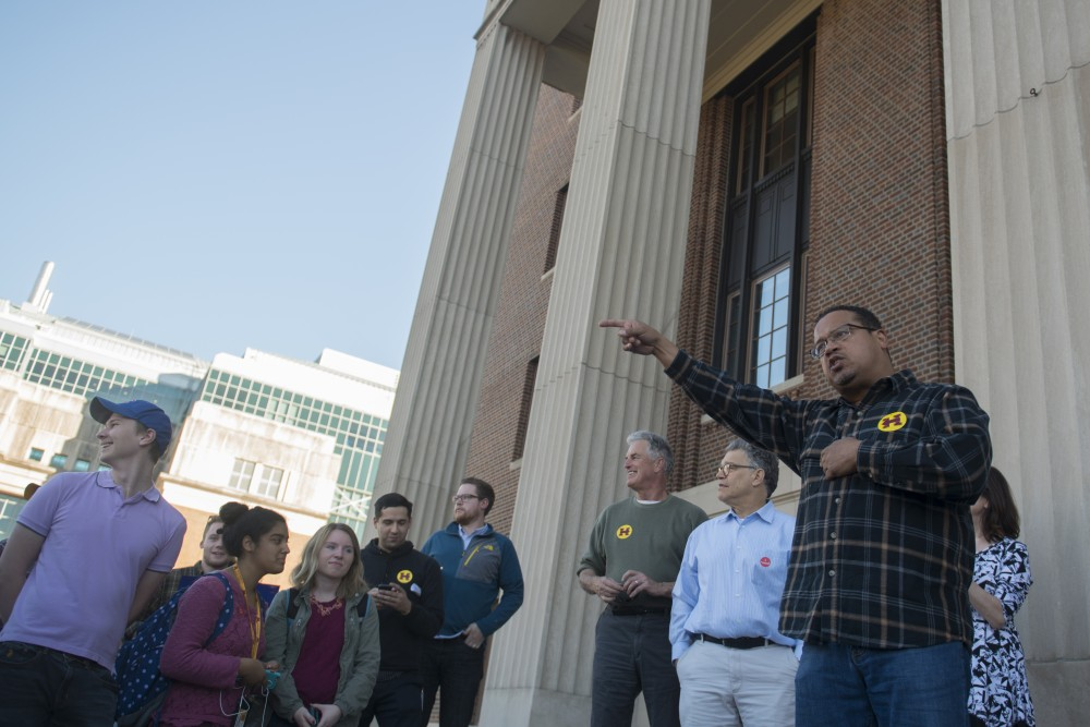 U.S. Rep. Keith Ellison speaks to students on Friday, Nov. 4, 2016 outside of Coffman Union. Minnesota Democrats held a rally encouraging students to get involved and vote.