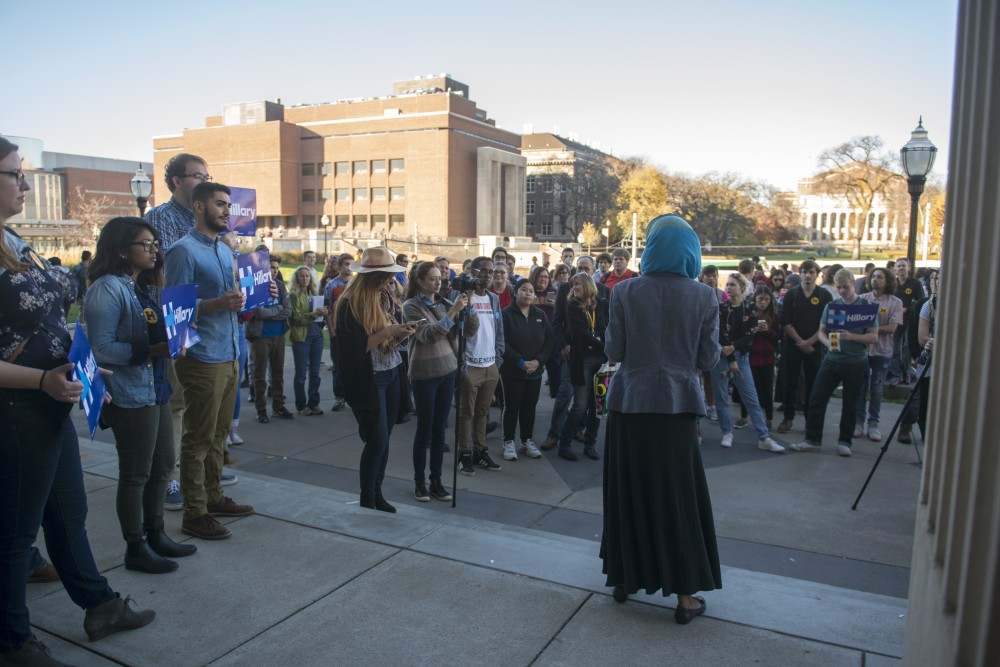 Ilhan Omar, candidate for Minnesota House of Representatives District 60B, speaks to students on Friday, Nov. 4, 2016 outside of Coffman Union. Minnesota Democrats held a rally encouraging students to get involved and vote.