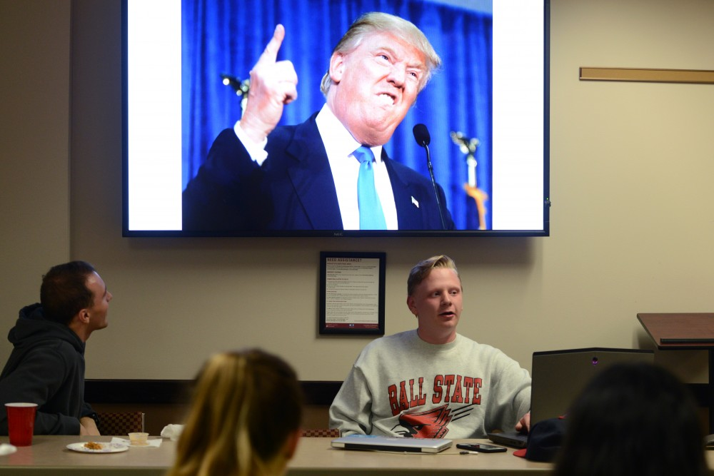 "Young Americans for Liberty general officer Chaz Fenske tells jokes at ""The Roast of Trump, Clinton, Aleppo, and this Awful Election"" on Tuesday, Nov. 1, 2016 at Coffman. Young Americans for Liberty hosted a political roast to poke fun at national political candidates before the election."