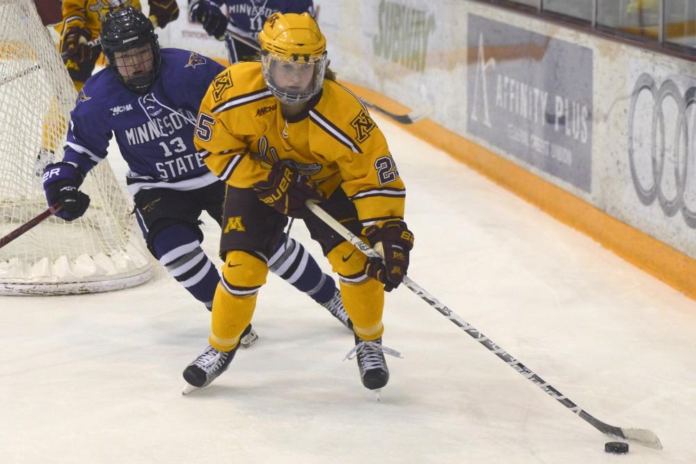 Nicole Schammelat maneuvers the puck at Ridder Arena on Sunday, Nov. 6, 2016. Nicole scored two goals against Minnesota State on Sunday.