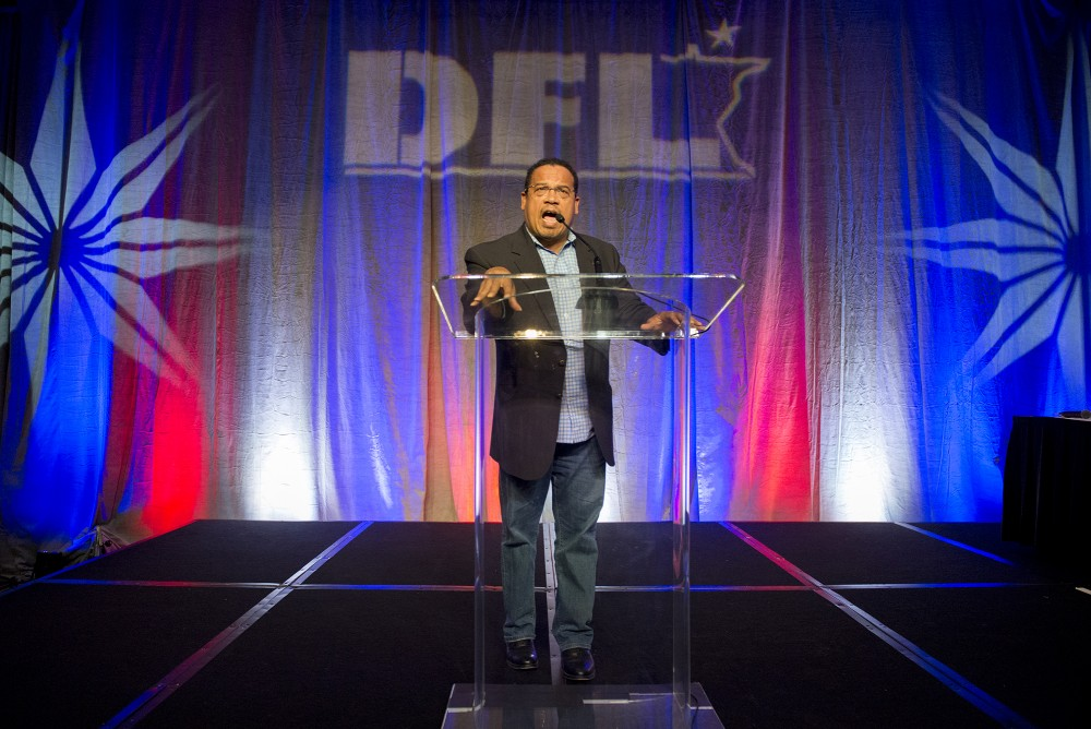 Rep. Keith Ellison, D-Minn., addresses the crowd at the Minnesota DFL election night party at the Minneapolis Hilton on Tuesday, Nov. 8, 2016.