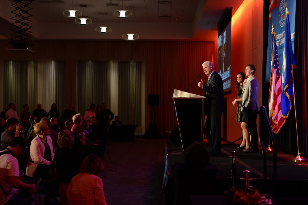 U.S. Rep. Tom Emmer speaks at the Republican Party of Minnesota's Victory Party at the Radisson Blue Mall of America in Bloomington on Nov. 8, 2016.