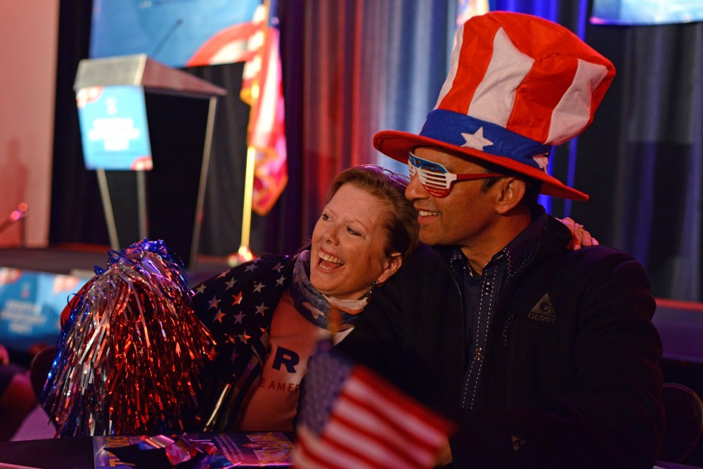 Amethyst Macrae and Preston Rodrigues take a photo together at the Republican Party of Minnesota's Victory Party at the Radisson Blu Mall of America in Bloomington on Nov. 8, 2016.