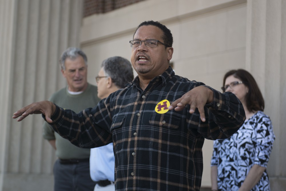 U.S. Representative Keith Ellison speaks to students on Friday, Nov. 4, 2016 outside of Coffman. Minnesota Democrats held a rally encouraging students to get involved and vote.