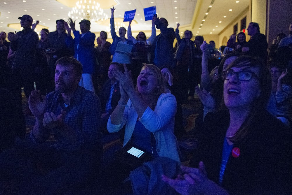The room erupts with joy when it is called that DFL presidential nominee Hilary Clinton won the state of Virgina on Tuesday, Nov. 8, 2016 at the Minnesota DFL election night party at the Minneapolis Hilton.