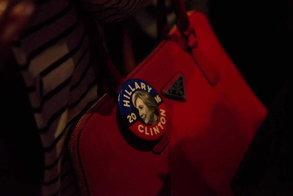 A woman sports a Hilary Clinton button at the Minnesota DFL election night party at the Minneapolis Hilton on Tuesday, Nov. 8, 2016.