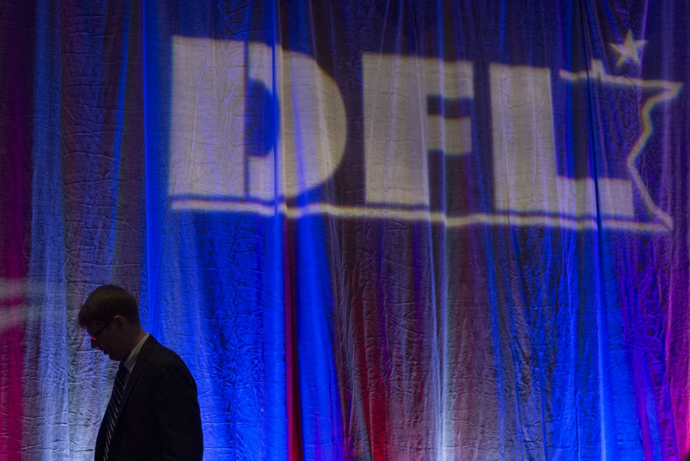 A man exists the stage at the Minnesota DFL election night party at the Minneapolis Hilton on Tuesday, Nov. 8, 2016.
