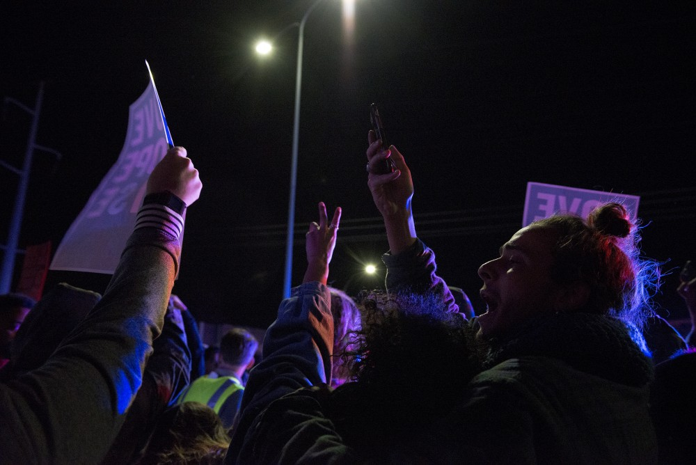 Hundreds chant on interstate 94 in Minneapolis during an anti-trump protest on Thursday, Nov. 10, 2016.