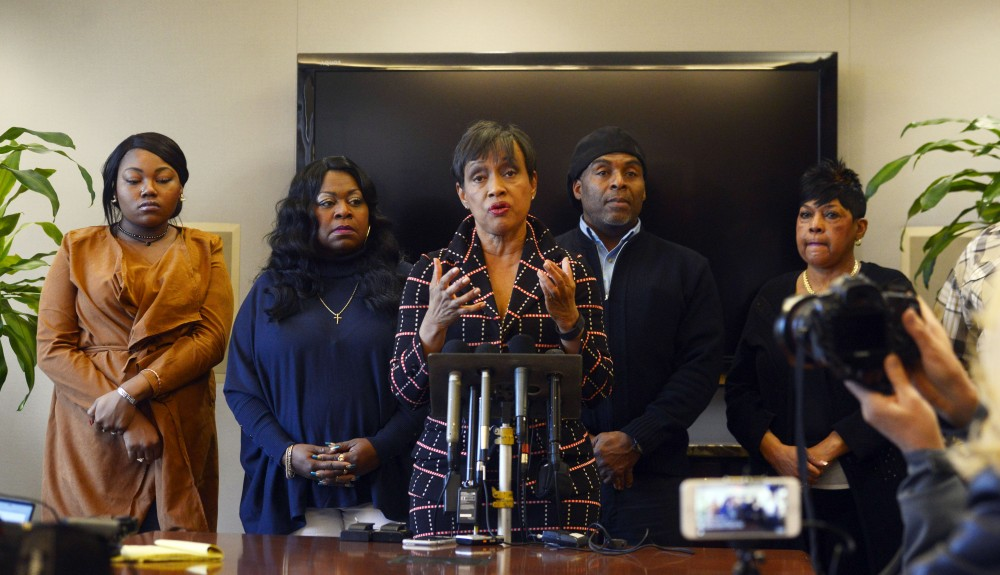Glenda Hatchett, the representative for Philando Castiles family, speaks as Castiles family stands behind her during a press conference at the offices of Gaskins Bennett Birrell Schupp LLP on Wednesday. Officer Jeronimo Yanez was charged with second-degree manslaughter after shooting Castile during a traffic stop in July that resulted in Castiles death.