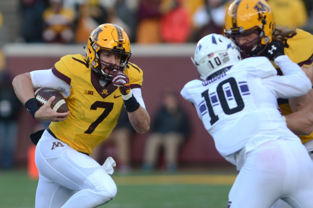 Minnesota quarterback Mitch Leidner runs the ball against Northwestern at TCF Bank Stadium on Saturday, Nov. 19, 2016. Minnesota won 29-12 over Northwestern at their last home game of the season.