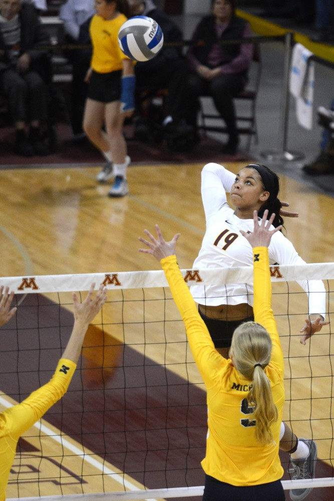 Gophers outside hitter Alexis Hart winds up a spike against Michigan on Sunday, Nov. 20, 2016 at the Sports Pavilion.