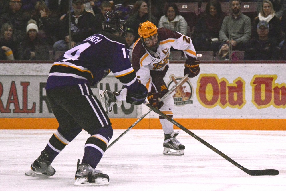 Gophers forward Justin Kloos winds up a shot against Minnesota State-Mankato on Saturday, Nov. 19, 2016 at Mariucci Arena.