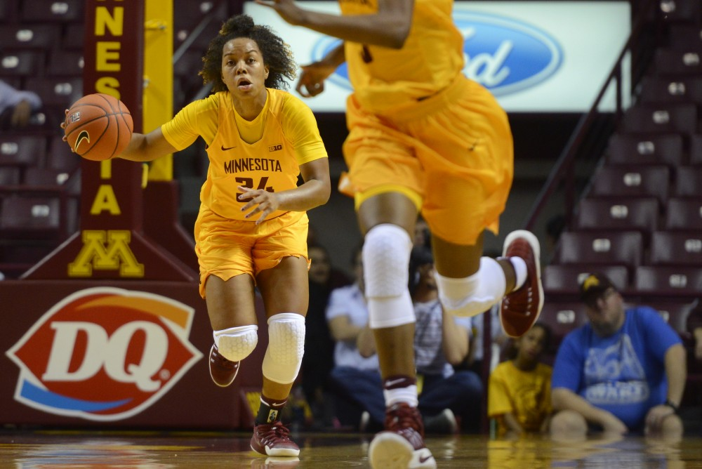 Gophers guard Gadiva Hubbard handles the ball at Williams Arena on Nov. 12, 2016.